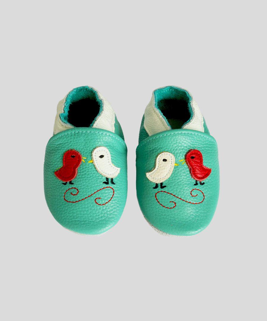 Кожени пантофки с птички в цвят тюркоаз