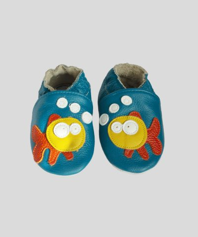 Кожени пантофки със жълта рибка