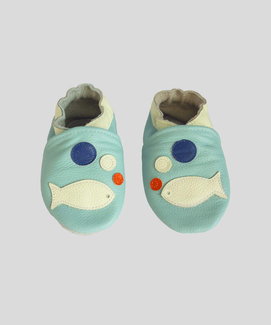 Кожени пантофки с бяла рибка