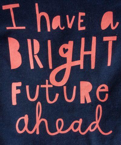 Блуза с дълъг ръкав и принт 'bright future ahead'