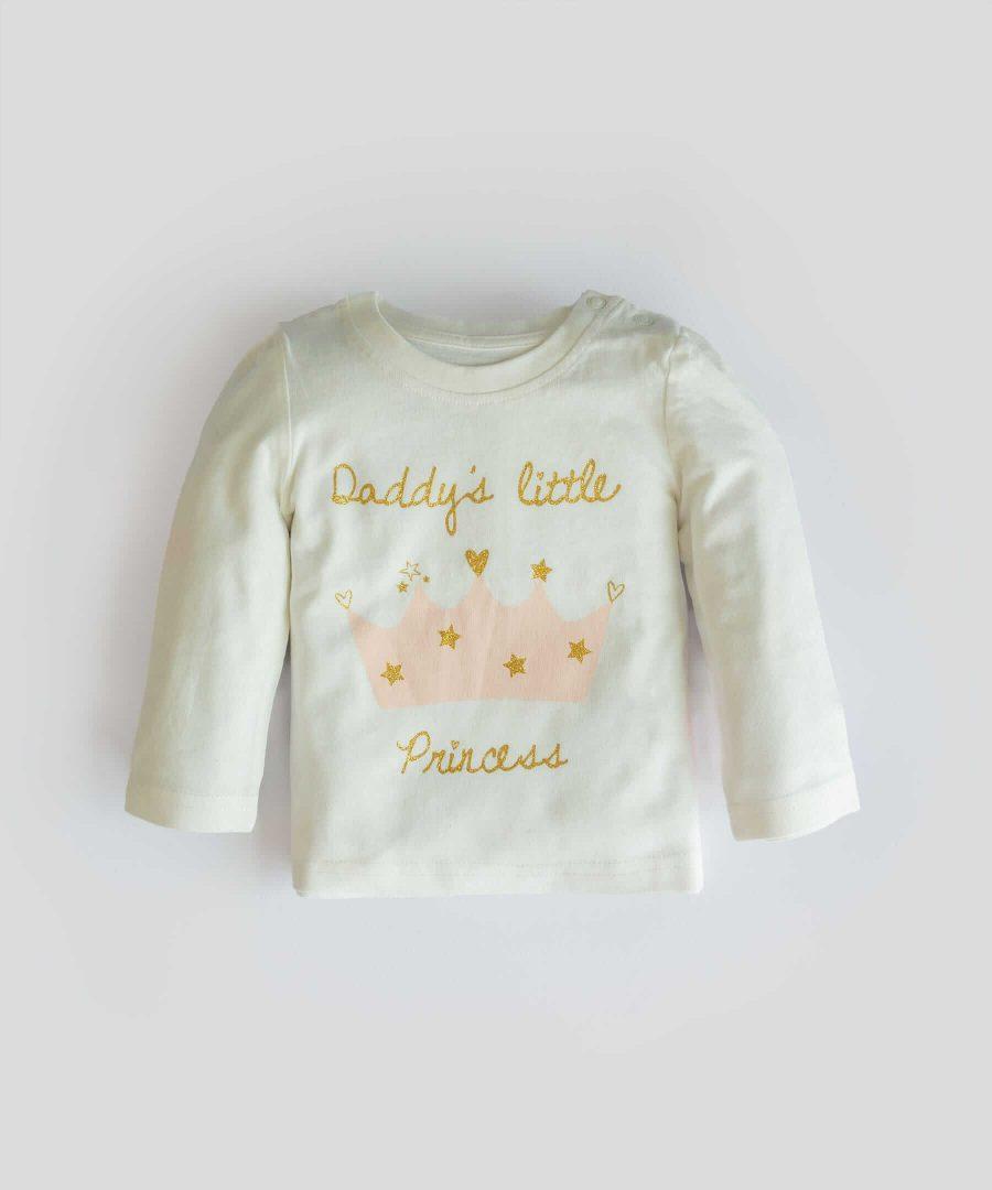Блуза с дълъг ръкав и принт 'daddy's little princess'