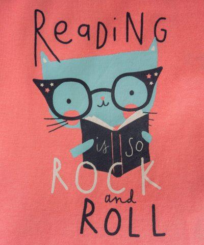 Блуза с дълъг ръкав и принт reading is so rock and roll
