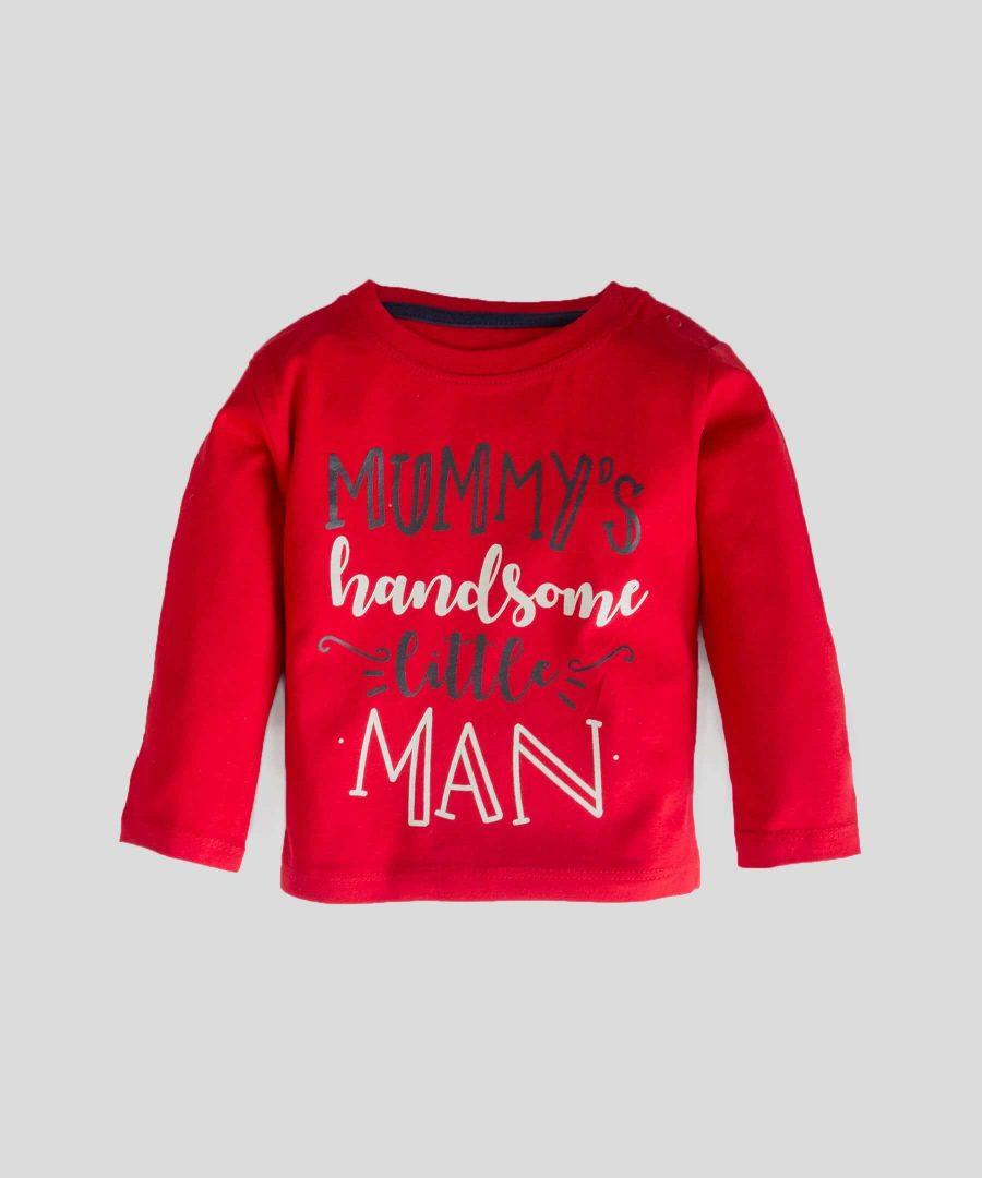 Блуза с дълъг ръкав и принт 'mommy's handsome little man'