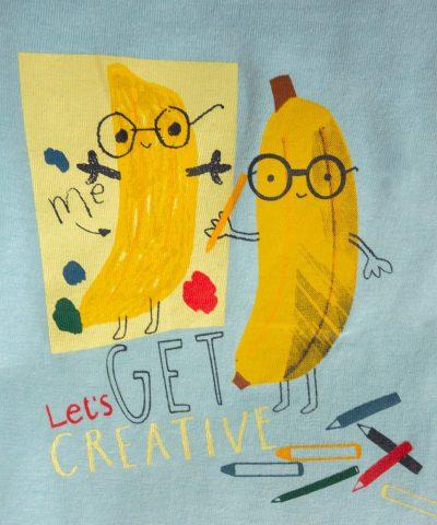 Блуза с дълъг ръкав и принт 'let's get creative'