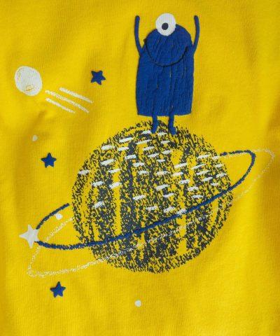 Блуза с дълъг ръкав и принт с извънземно
