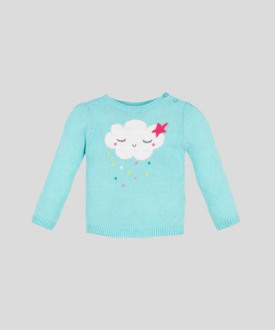 Пуловер с облаче в син цвят