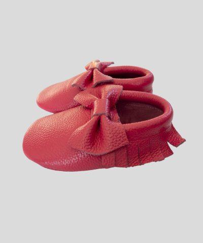Кожени пантофки с панделка