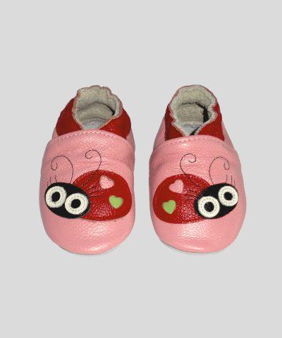 Кожени пантофки с калинка в розов цвят