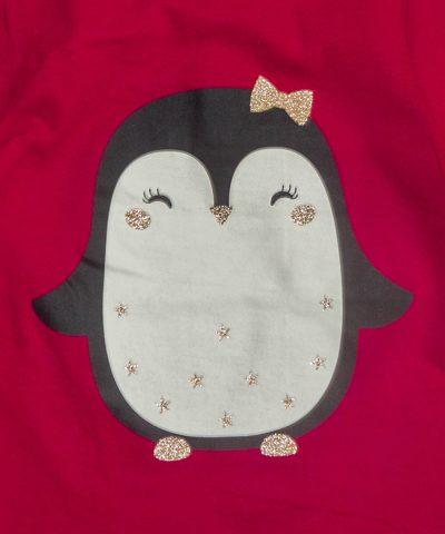 Бебешка блуза с пингвин от био памук за момиче