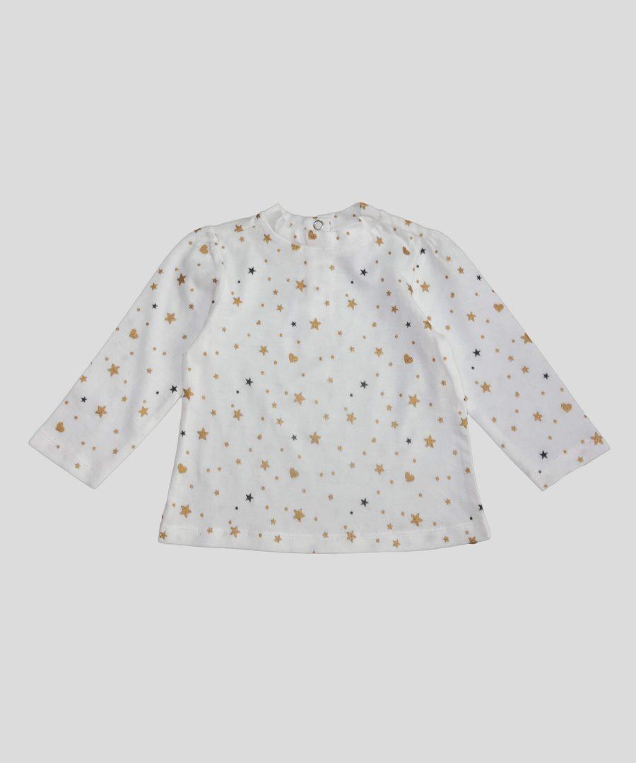Бебешка блуза със звездички от био памук за момиче
