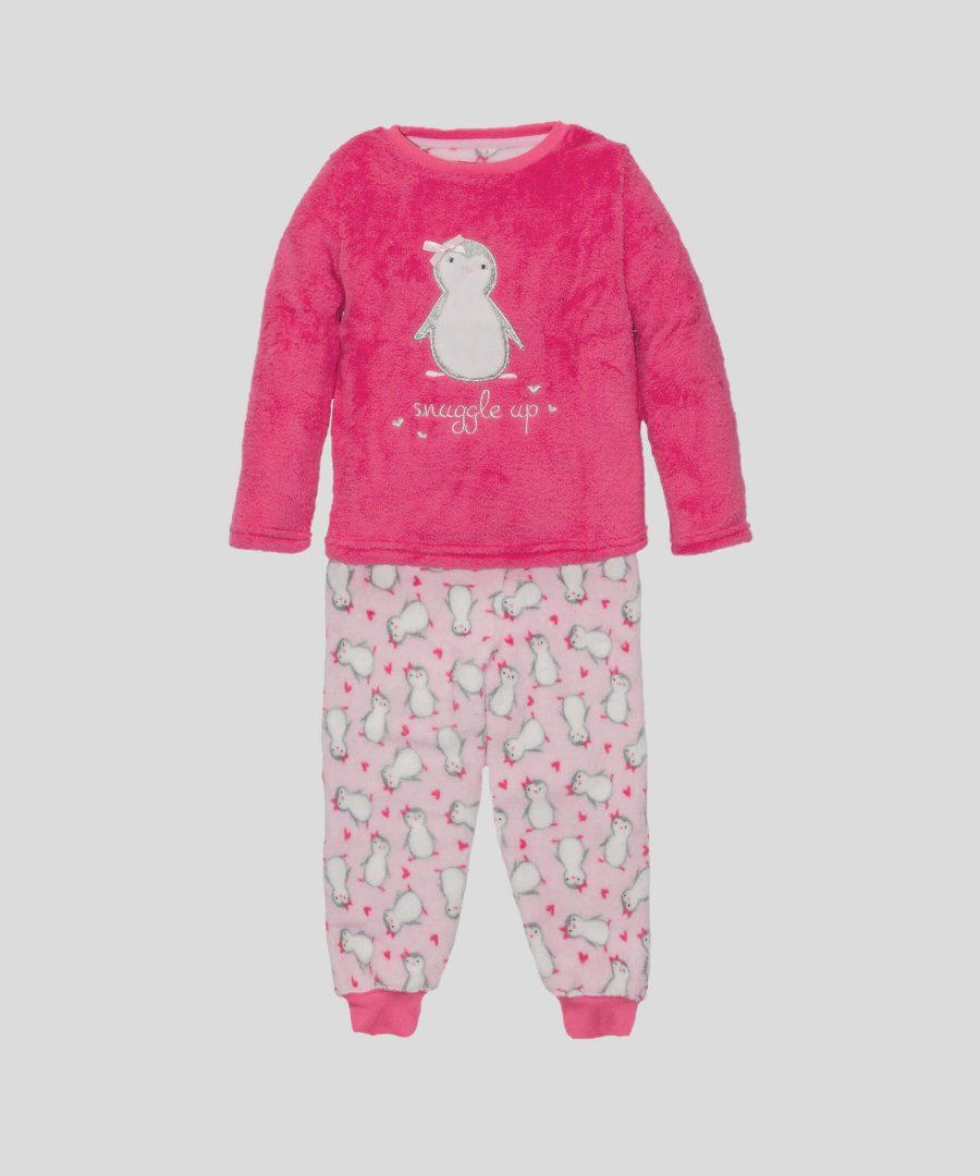 Детска пижама от полар с пингвинчета за момиче