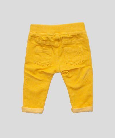 Бебешки еластични панталони в жълт цвят за момиче