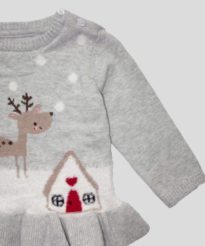 Пуловер с пингвин и елен в сив цвят