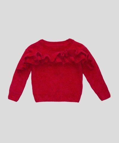 Червен пуловер с двоен волан