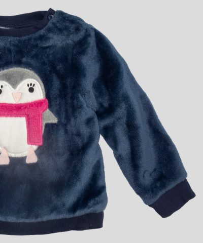 Бебешка термо блуза с пингвин за момиче
