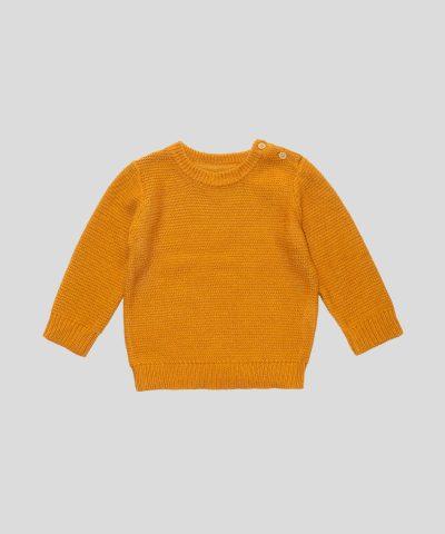 Бебешки и детски пуловер в цвят горчица за момче