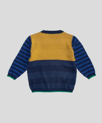 Бебешки и детски пуловер в цветно райе за момче