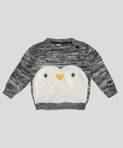 Бебешки пуловер с пингвин от био памук