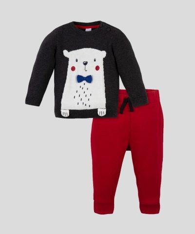 Бебешки комплект пуловер и долнище с Мече от био памук за момче