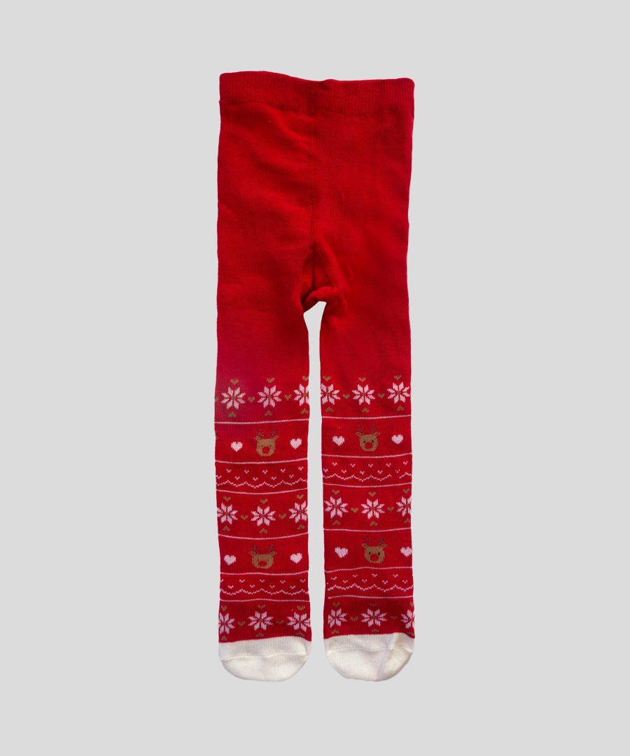 Коледен чорапогащник в червен цвят