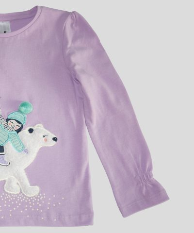 детска блуза с момиченце и мечка за момиче