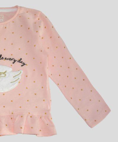 Бебешка и детска блуза с апликация лебед за момиче