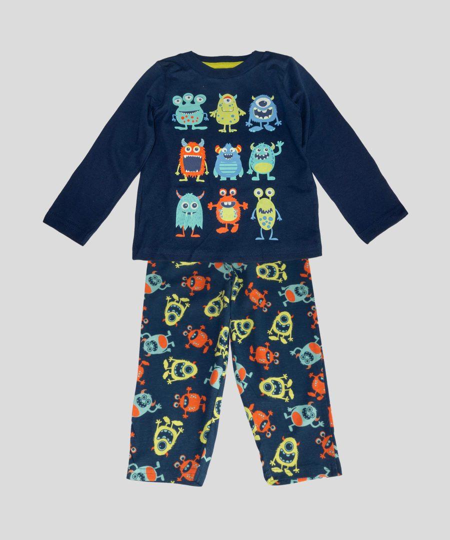 детска памучна пижама с извънземни за момче