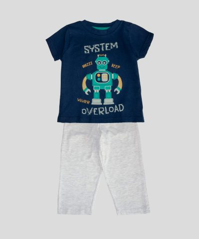 детска памучна пижама с роботче за момче