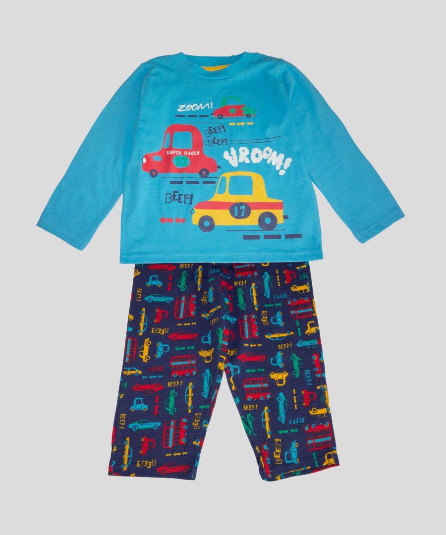 детска памучна пижама с колички за момче