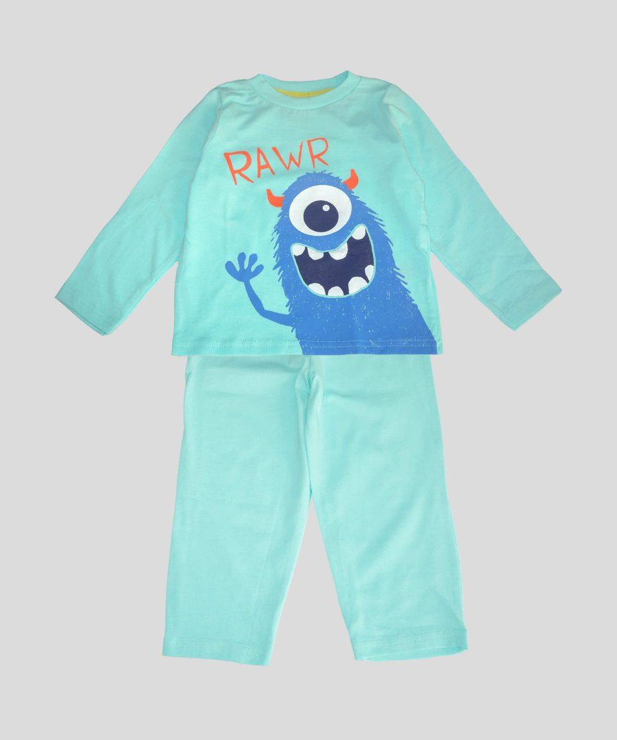 детска памучна пижама с извънземно за момче