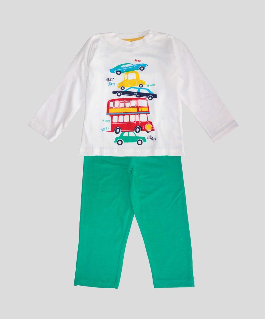 детска памучна пижама beep beep за момче