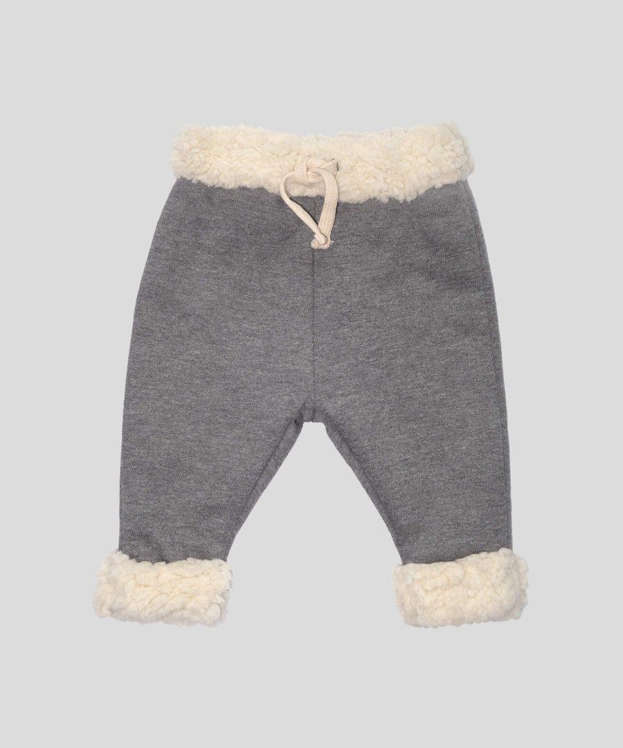 бебешки и детски термо панталон с каракул в сив цвят