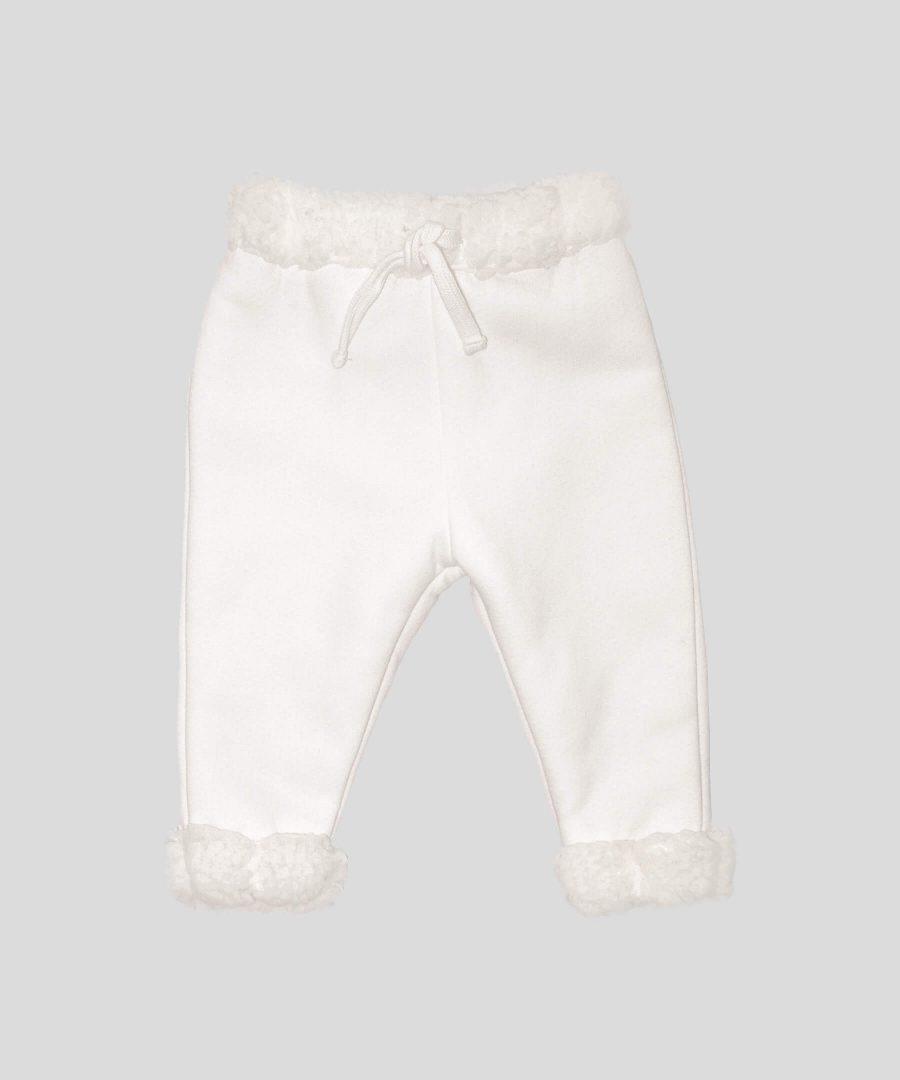 бебешки и детски Термо панталон с каракул в цвят екрю