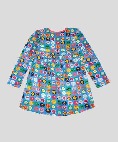 детска рокля с цветя в кръгчета за момиче