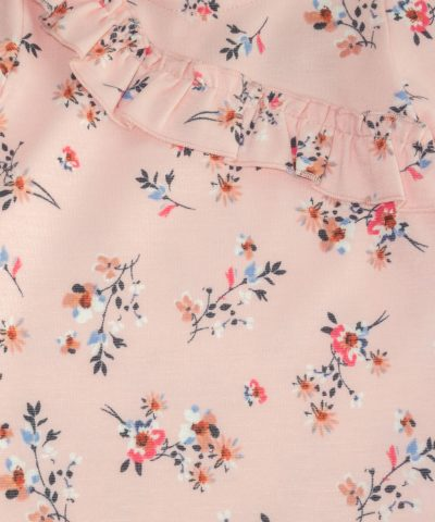 Рокля с цветя в розов цвят за бебе момиче
