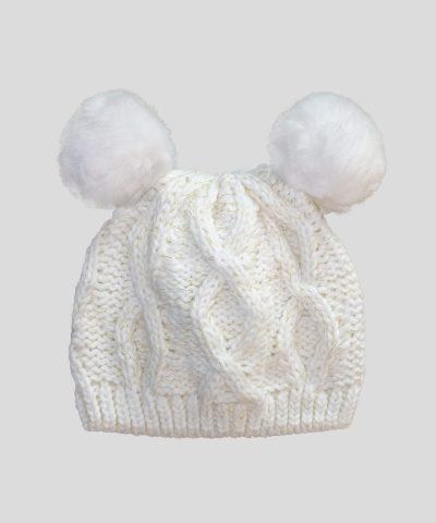 бебешка шапка с два помпона