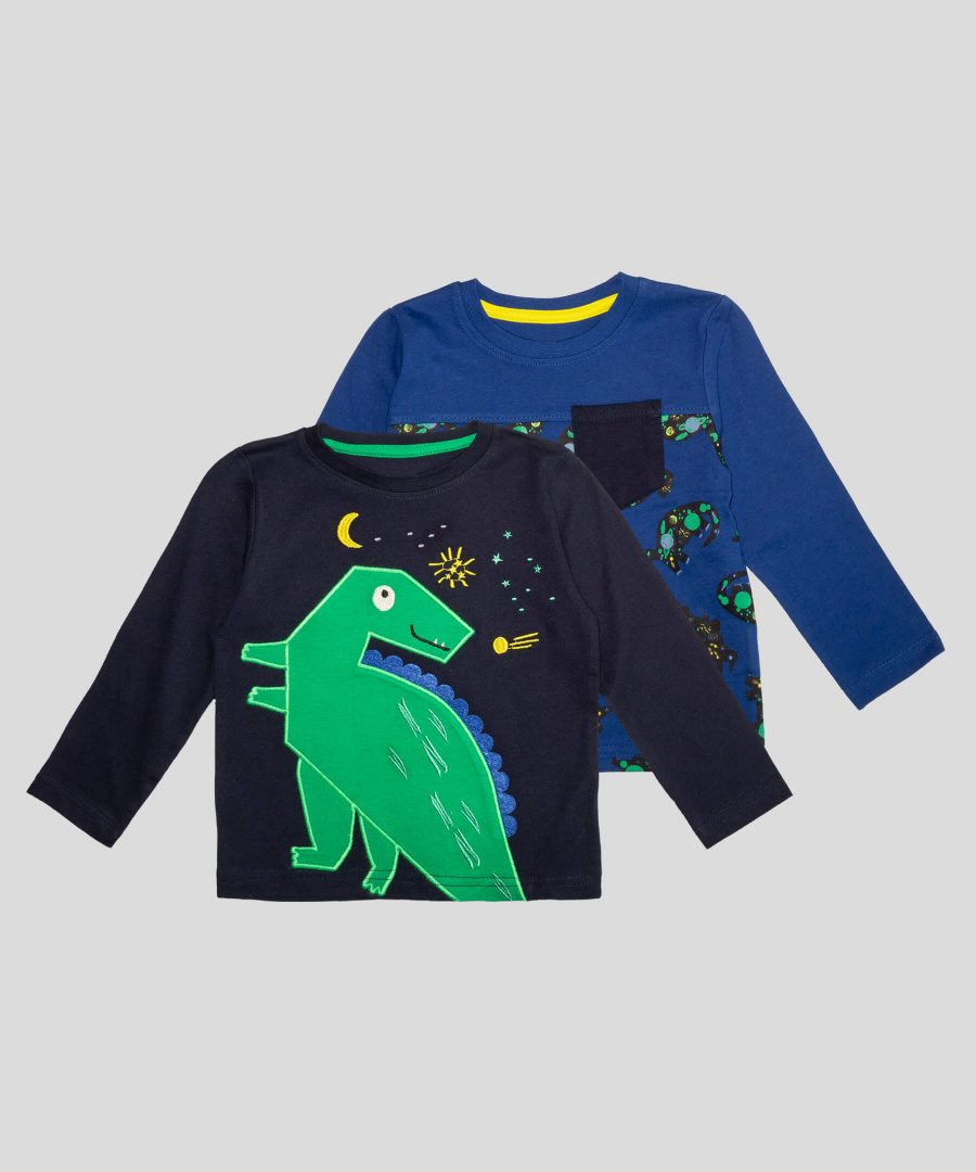 Бебешки и детски Комплект 2 блузи с динозаври