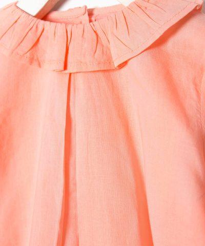 блуза с яка в цвят корал за бебета и деца