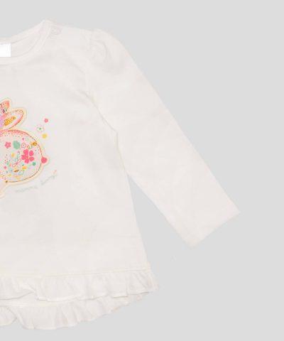 Бебешка и детска блуза от био памук с апликация зайчета