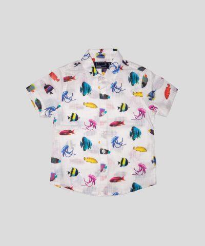 детска морска риза от лен за момче