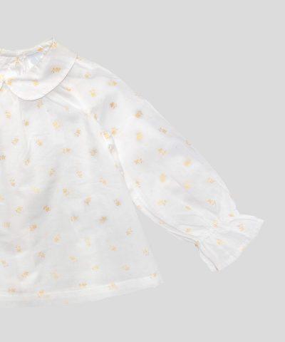 Бебешка детска блуза със златисти цветя