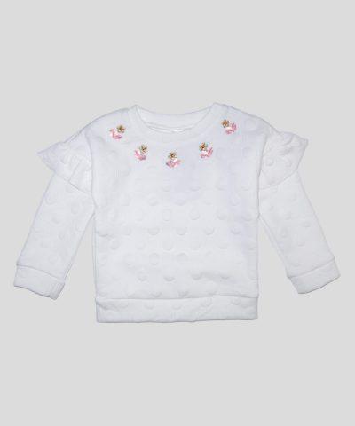 Бебешка и детска блуза с мини апликации цветчета за момиче