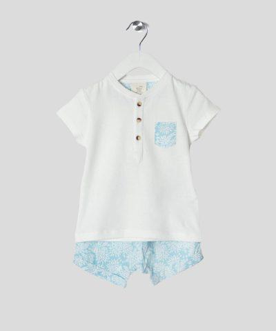 комплект тениска и панталонки с цветя за бебе и дете момче