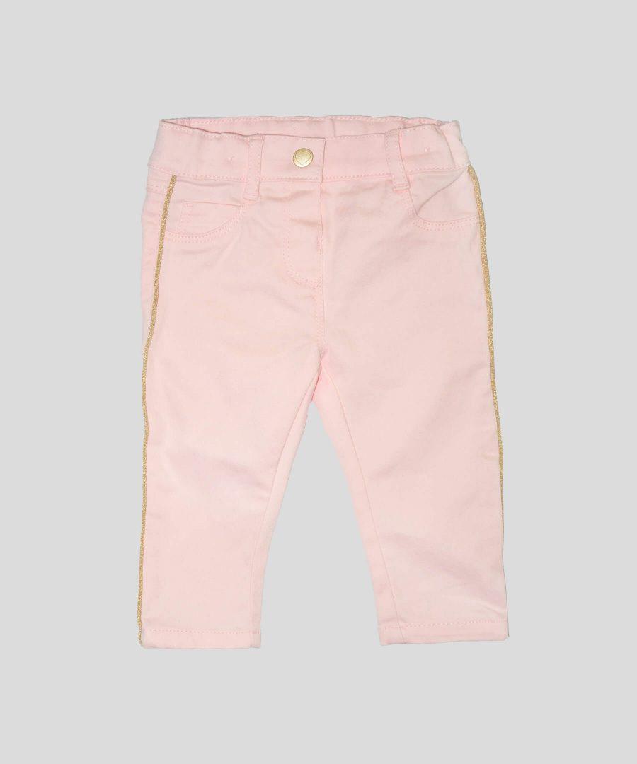 Бебешки панталони в розов цвят със златист кант за момиче