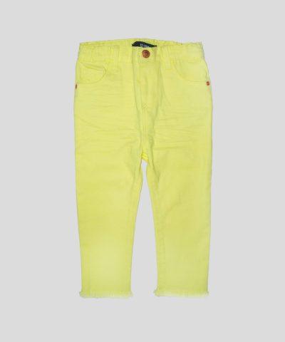 бебешки и детски дънков панталон в жълт цвят за момиче