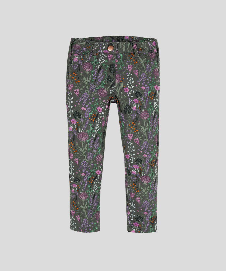 детски дънков панталон с цветя за момиче