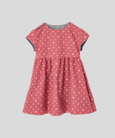 детска двулицева рокля с пеперуди за момиче