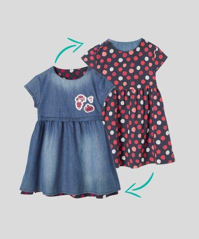 детска двулицева рокля на точки за момиче