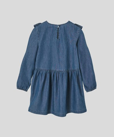 детска дънкова рокля с бродерии за момиче