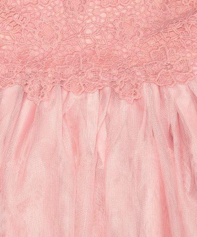 бебешка и детска рокля с дантела в розов цвят